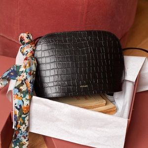 Sezane Victor Croco Bag Black